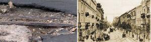 Dziury w asfalcie odsłoniły przedwojenne szyny