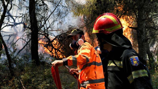 Jeden ugaszono, wzniecił się kolejny. <br />Walka z pożarami na południu Grecji