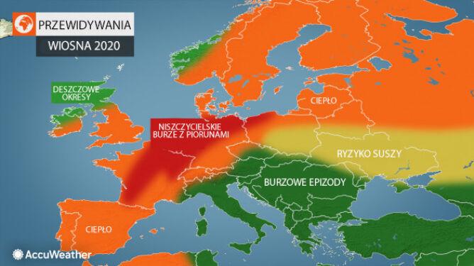 Przewidywania amerykańskich meteorologów na wiosnę 2020 (tvnmeteo.pl za AccuWeather)
